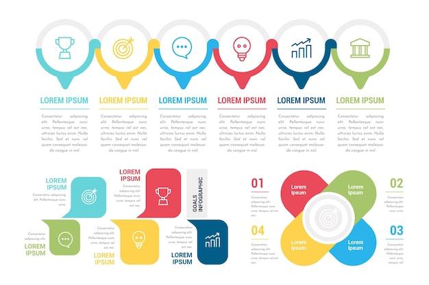 Conjunto de infografías de objetivos coloridos