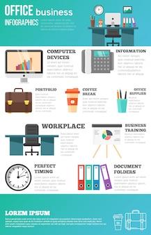 Conjunto de infografías de oficina