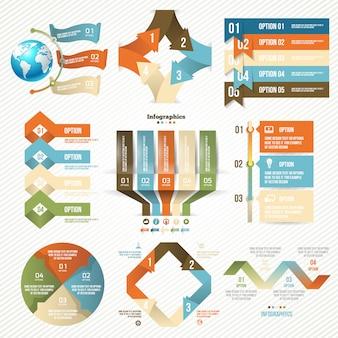 Conjunto de infografías con opciones.