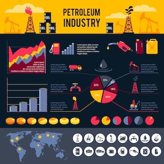 Conjunto de infografías de petróleo