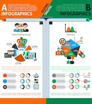 Conjunto de infografías de prueba ab