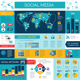 Conjunto de infografías de redes sociales y redes.