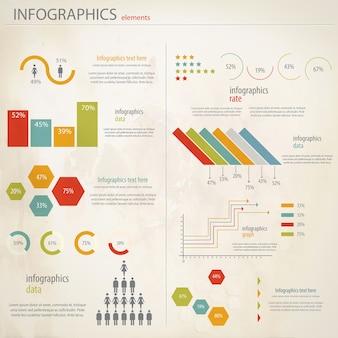 Conjunto de infografías retro.