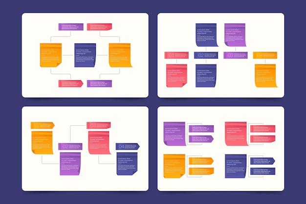 Conjunto de infografías de tableros de notas adhesivas