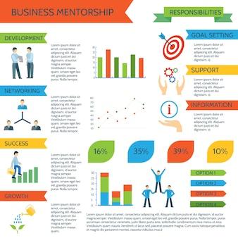 Conjunto de infografías de tutoría con deportes personales y gestión empresarial motivada.