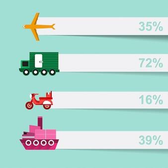 Conjunto infográfico de información logística.