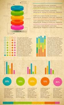 Conjunto infográfico multicolor con diferentes tipos de gráficos, texto y porcentaje.