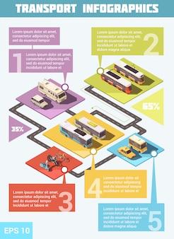 Conjunto infográfico de transporte con medios de transporte.