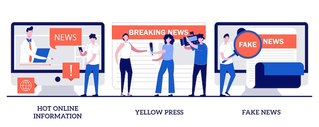 Conjunto de información caliente en línea, prensa amarilla, noticias falsas, contenido de titulares