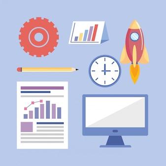 Conjunto de información de estrategia de trabajo en equipo de negocios.