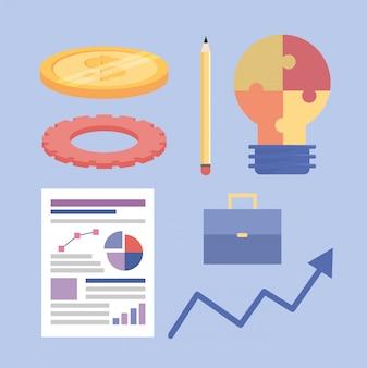 Conjunto de información de trabajo en equipo de estrategia empresarial.