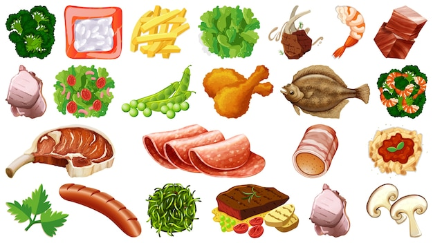Conjunto de ingredientes alimentarios frescos