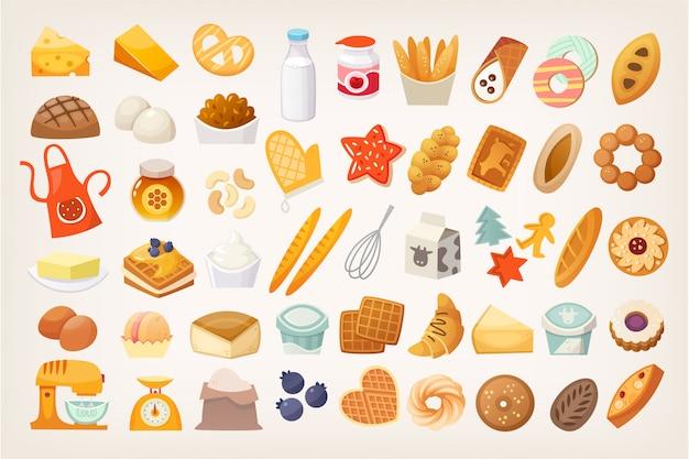 Conjunto de ingredientes para cocinar pan. iconos de panadería