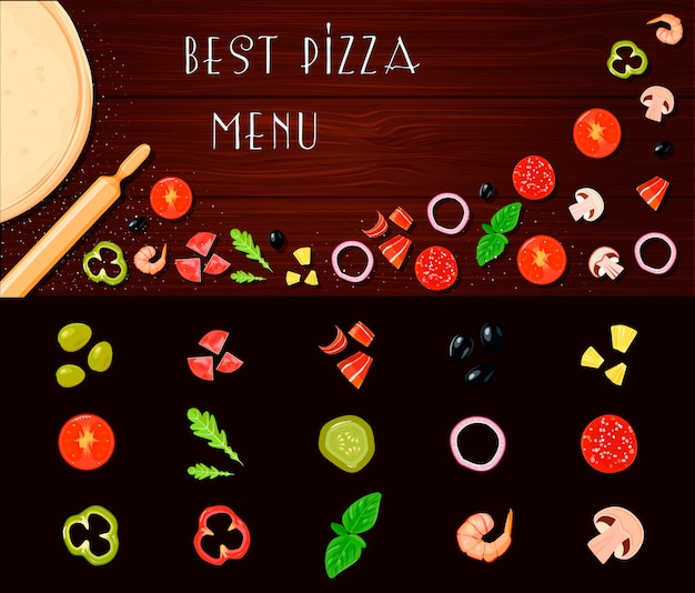 Conjunto de ingredientes de dibujos animados retro estilo pizza