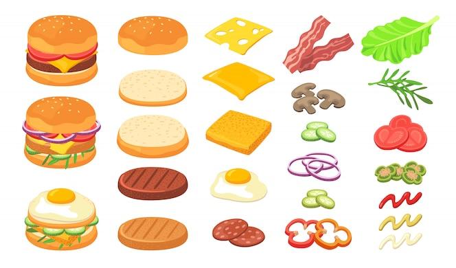 Conjunto de ingredientes de hamburguesa