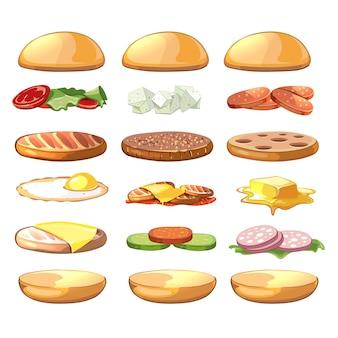 Conjunto de ingredientes de hamburguesas