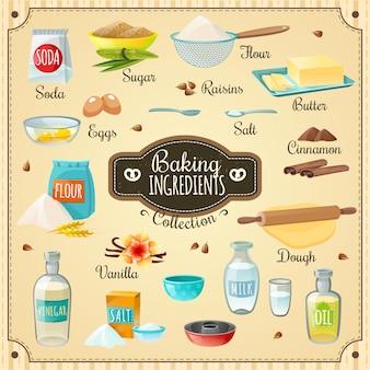 Conjunto de ingredientes para hornear