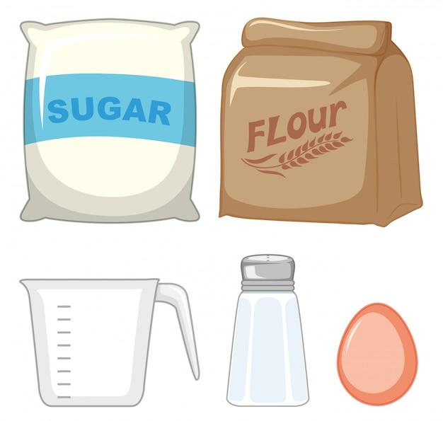 Conjunto de ingredientes de panadería con azúcar y harina.