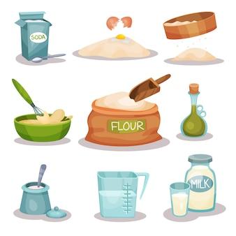 Conjunto de ingredientes de panadería, utensilios de cocina y productos para hornear y cocinar.
