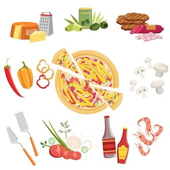 Conjunto de ingredientes de pizza y utensilios de cocina