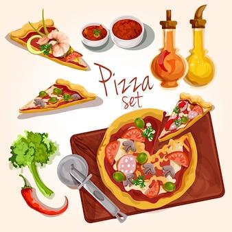 Conjunto de ingredientes de pizza