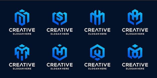 Conjunto de inicial abstracta en paquete de logotipo de forma hexagonal