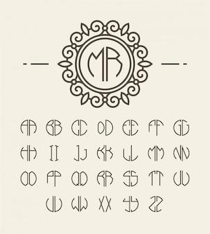 Conjunto de iniciales del alfabeto y monograma de línea