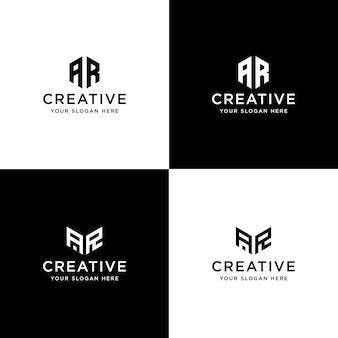 Conjunto de iniciales de colección plantilla de diseño de logotipo ar
