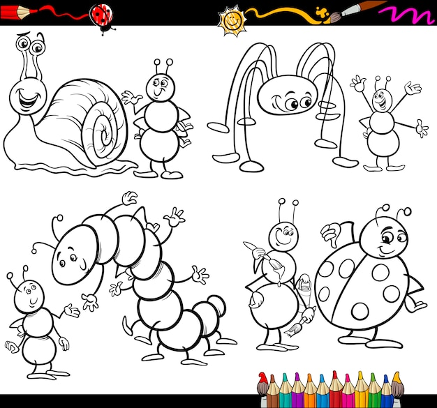 Conjunto de insectos divertidos para colorear libro