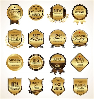 Conjunto de insignia dorada premium de lujo
