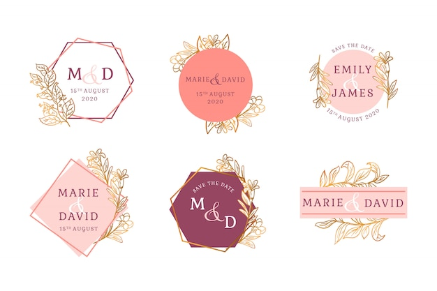 Conjunto de insignia floral dorada de boda