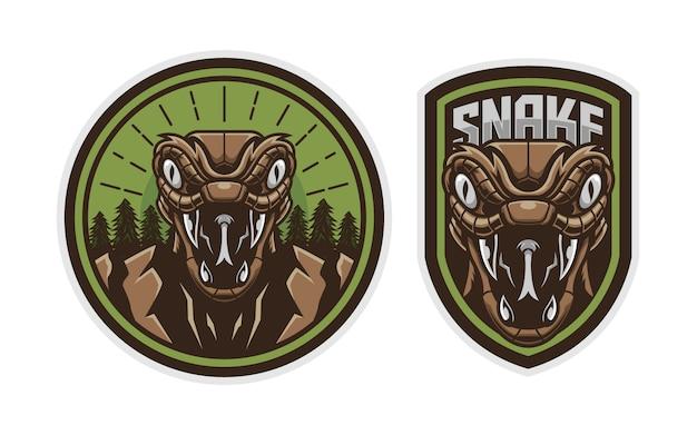 Conjunto de insignia de logotipo de cabeza de serpiente