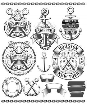 Conjunto de insignia y logotipo marino