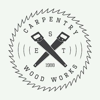 Conjunto de insignia o logotipo de carpintería vintage
