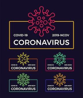 Conjunto de insignia de pandemia de coronavirus. ilustración médica y de salud. propagación del brote del virus covid-19. detener el concepto de diseño de camiseta de coronavirus.