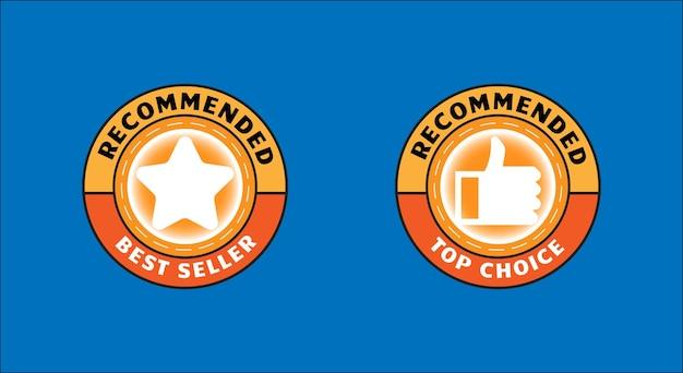 Conjunto de insignia para producto recomendado o superventas