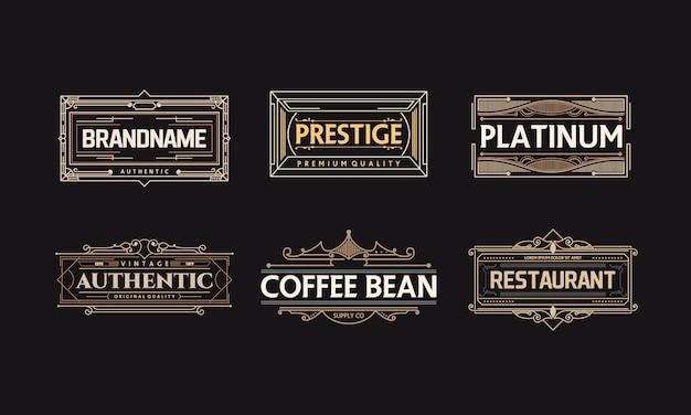 Conjunto de insignia de vector de decoración art deco frame