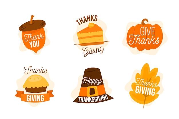 Conjunto de insignias de acción de gracias dibujadas a mano