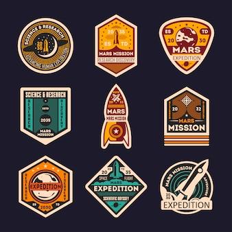 Conjunto de insignias aisladas de la misión de marte
