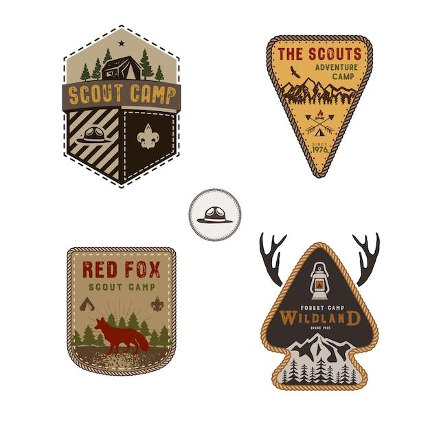 Conjunto de insignias al aire libre.