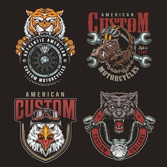 Conjunto de insignias de animales coloridos moteros mascotas