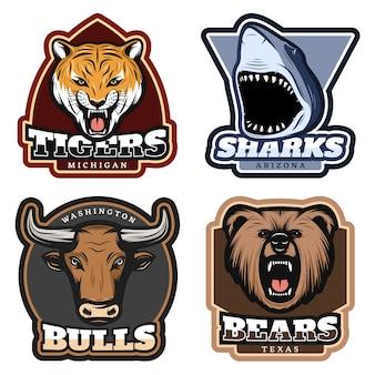 Conjunto de insignias de animales salvajes coloridos