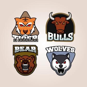 Conjunto de insignias de animales salvajes