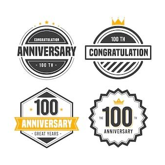 Conjunto de insignias de aniversario 100