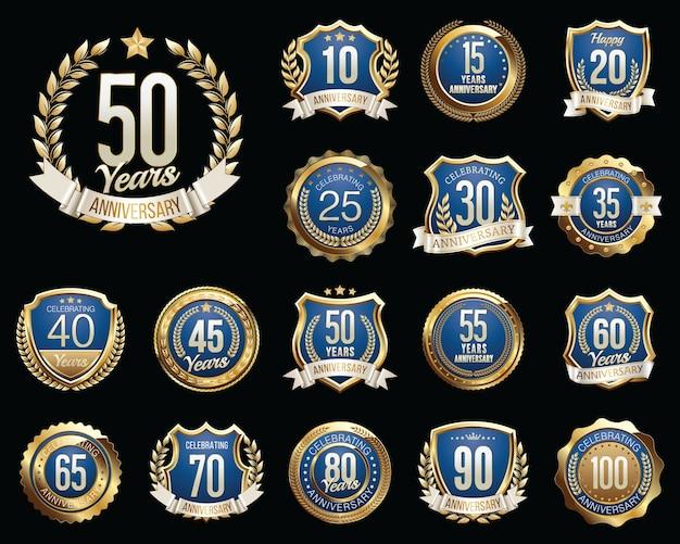 Conjunto de insignias de aniversario azul dorado