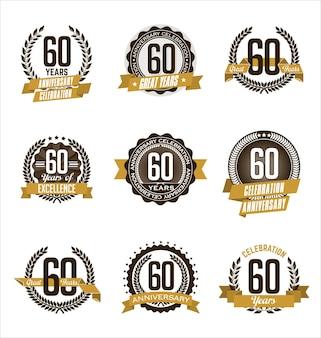 Conjunto de insignias de aniversario retro