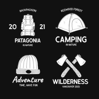 Conjunto de insignias de aventura dibujadas a mano