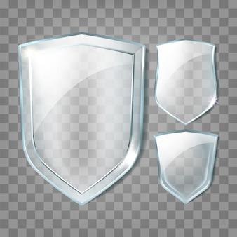 Conjunto de insignias en blanco de transparencia de escudos de vidrio