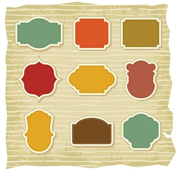 Conjunto de insignias en blanco vintage