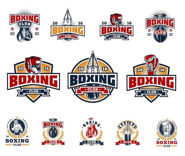 Conjunto de insignias de boxeo, pegatinas aisladas en blanco.